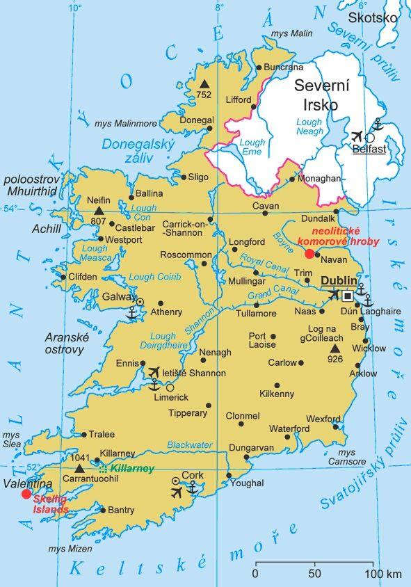 Mapa Irska Skotsko Velka Britanie Irsko