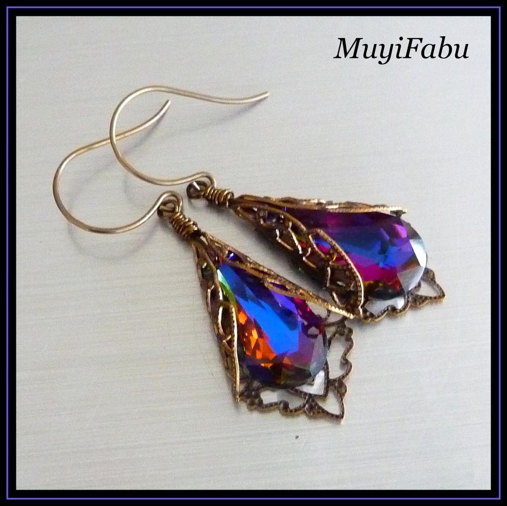 Swarovski Crystal and Antiqued Bronze Earrings