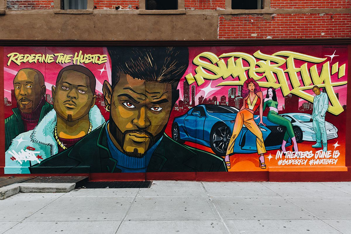 Harlem Comic Style Portait Mural For Superfly Movie Murals In Nyc Comic Styles Comics