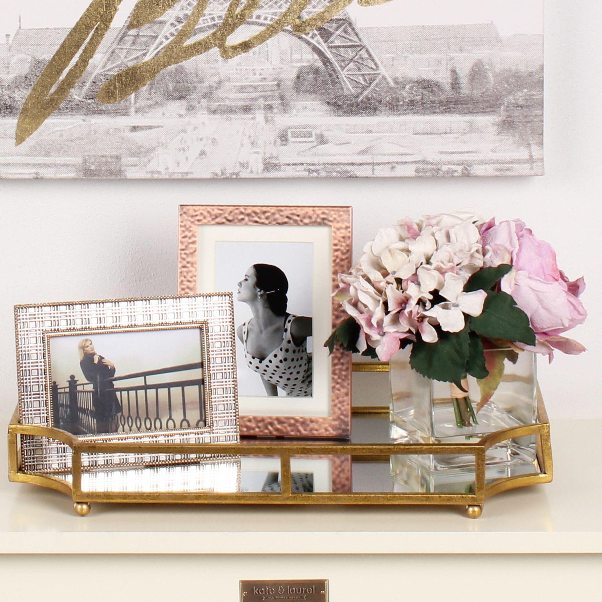 Ciel Metal Mirrored Ornate Decorative Tray Products Decoracion