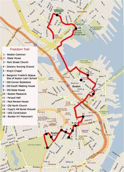 Boston Freedom Trail Map | Favorites in 2019 | Boston, Freedom