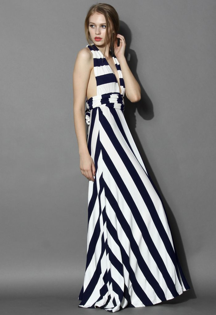 Spotlight Stripes Self-tie Maxi Dress - Dress - Retro, Indie a jedinečným způsobem