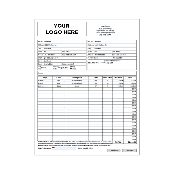Wholesale Line Sheet Template Order Form Template