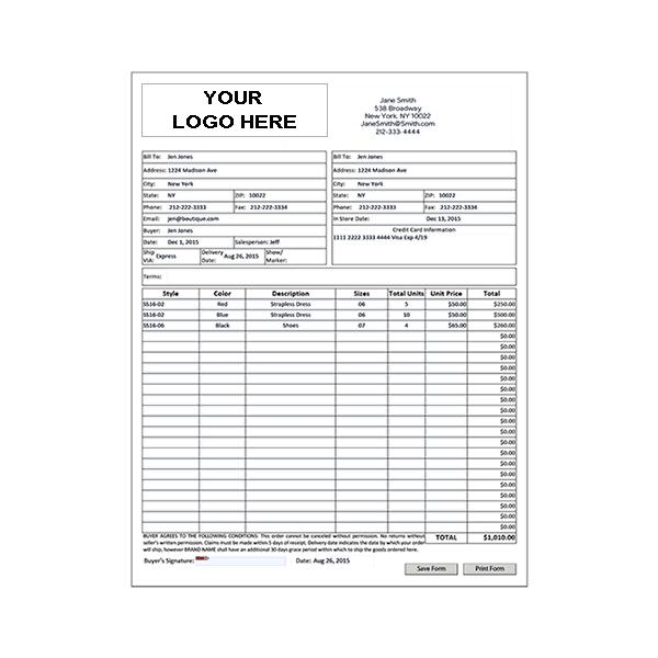 Wholesale Line Sheet Template Order Form Template Order