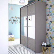 Porte De Placard Coulissante Effet Beton Miroir Spaceo L 98 7 X H 250 Cm Haus Dekoration Dekoration Haus