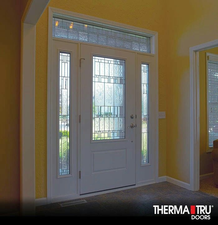 Kathy is this the door you want? Without transom above it. Therma-Tru Smooth-Star fiberglass door with Sedona decorative glass. & Pin by angie c on Decorating | Pinterest | Doors and Decorating pezcame.com