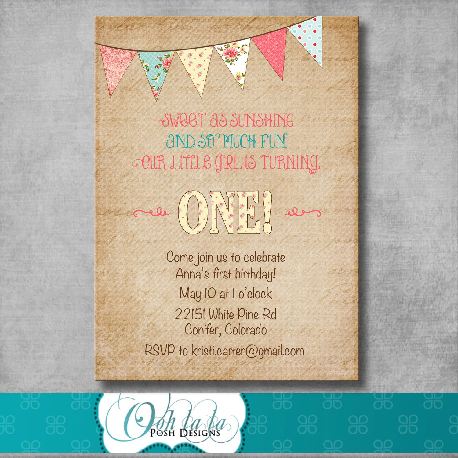 Shabby Chic First Birthday Invitation Digital File Printable