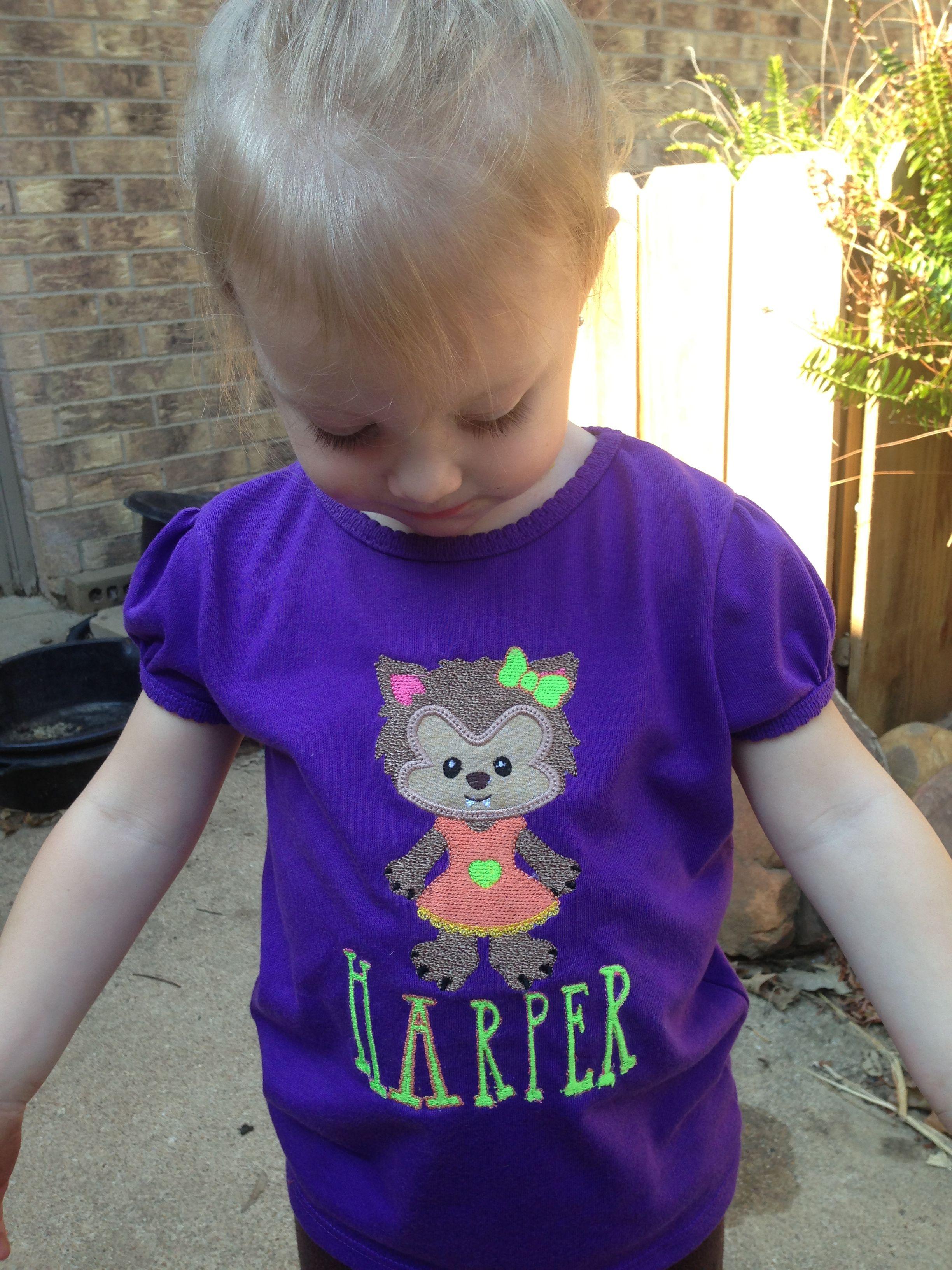 Machine embroidered Halloween werewolf t shirt