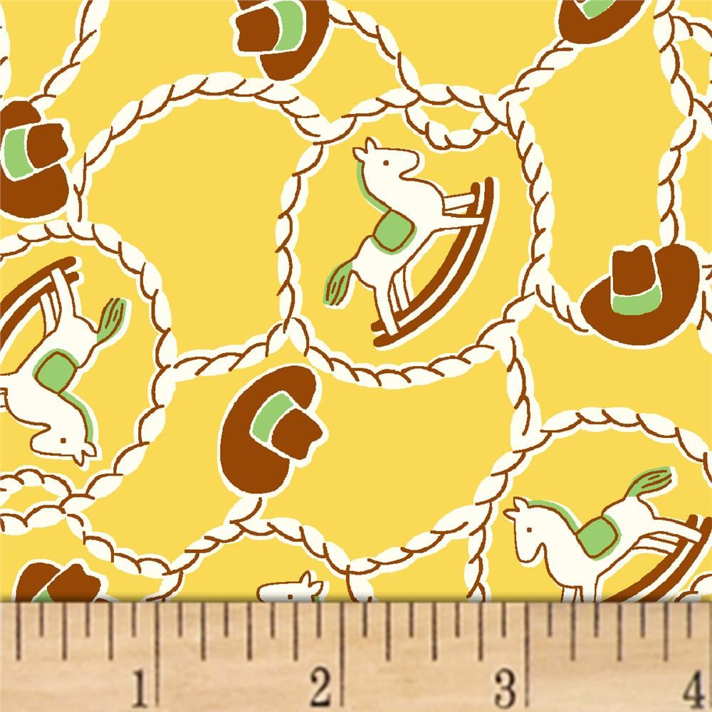 Storybook Ranch Rocking Horse Yellow Windham Fabrics Rocking Horse Marimekko Fabric