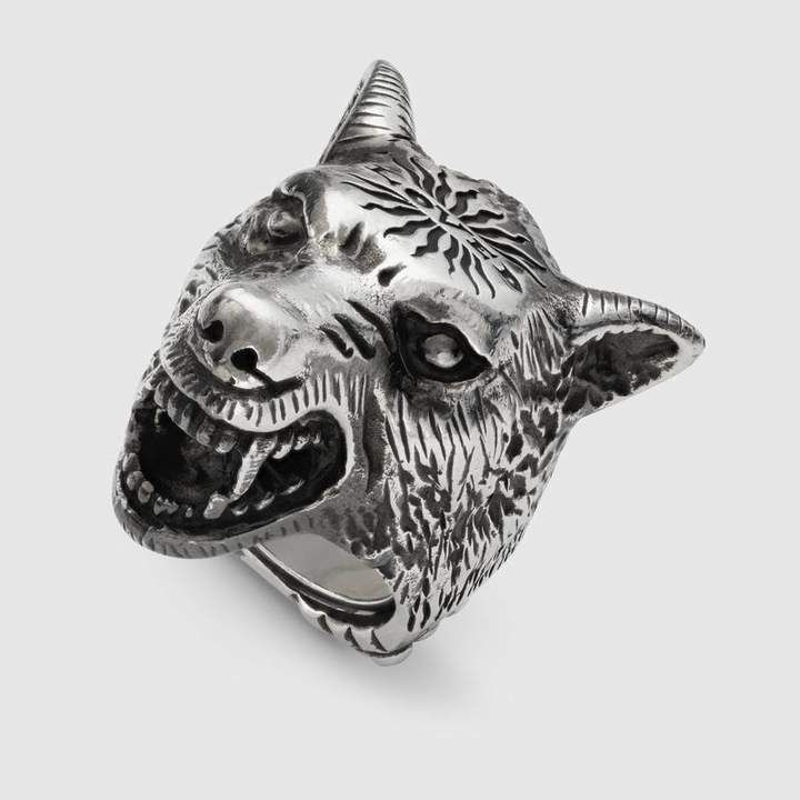 9f46064f9 Gucci Anger Forest wolf head ring in silver #Forest#Anger#Gucci ...
