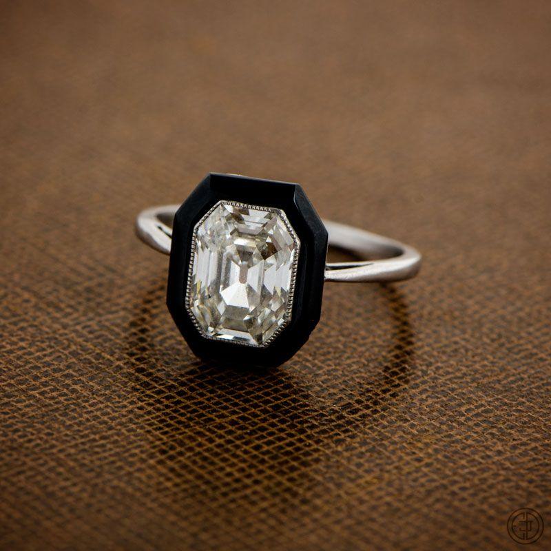 Wellshire Ring Onyx Engagement Ring Vintage Style Engagement