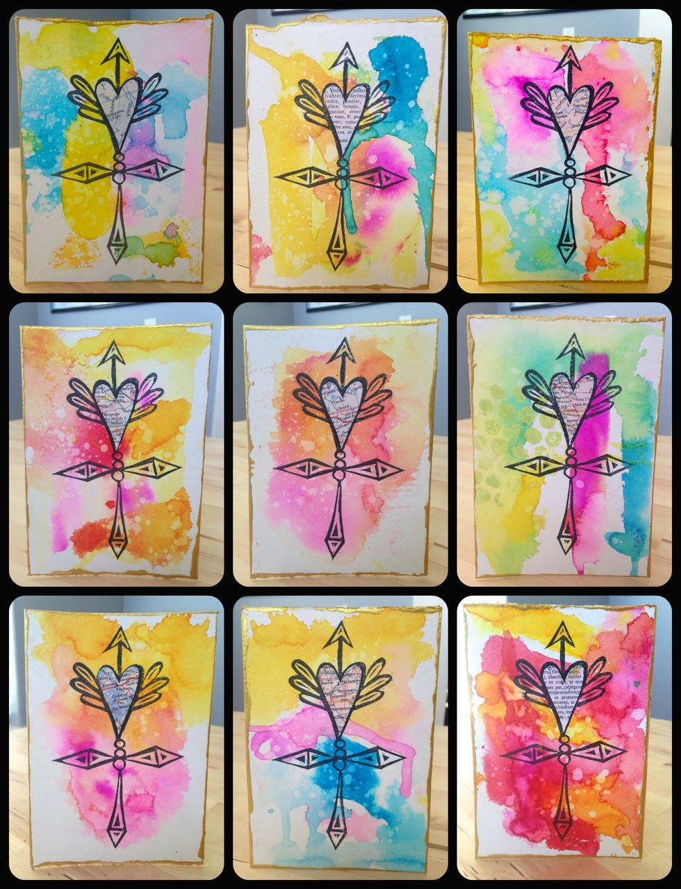 Simple Water Color Valentines Cards Made by Nicole Mixed Media – Bulk Valentine Cards