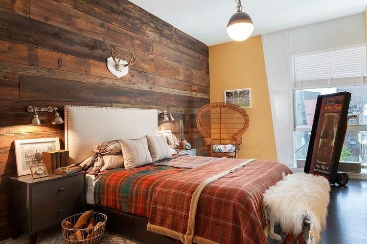 Schlafzimmer Deko Holzwand Jägerhaus Stil Sehr Einladend Warme Farben Braun  Orange   Rot