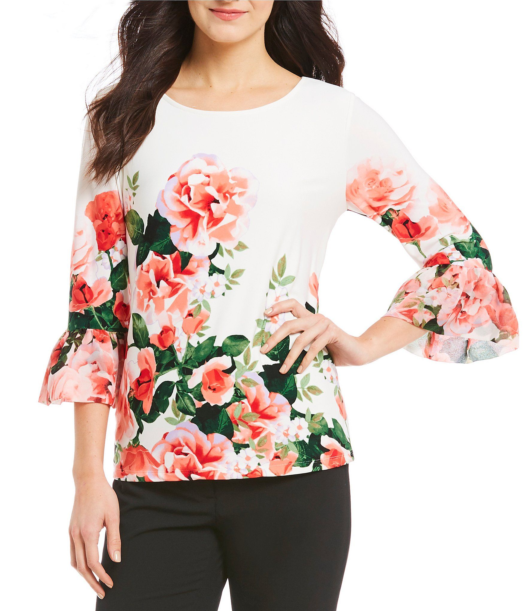 968a37a065b40a Calvin Klein Summer Floral Print Chiffon Ruffle Cuff Bell Sleeve Matte Jersey  Top  Dillards