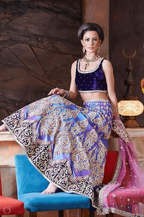 2 Tone Raw Silk Lilacpink Reception Lengha With Heavy Jardosi