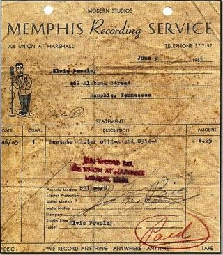 The above receipt, dated June 9, 1954, was for a two-sided acetate recording made by Elvis Presley. Sun records studio was originally called Memphis Recording Service opening in January 16 1950