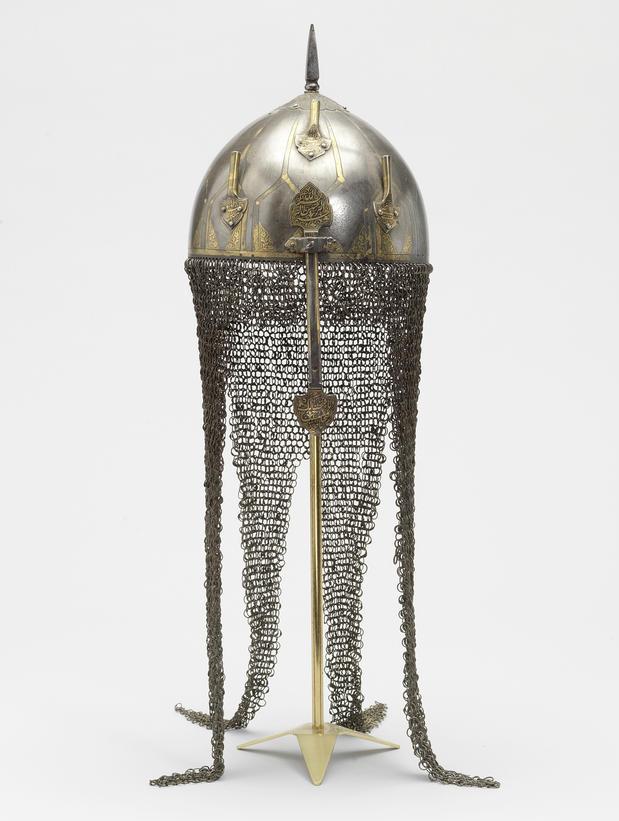 A Mughal Gold Koftgari Steel Helmet India 18th 19th Century