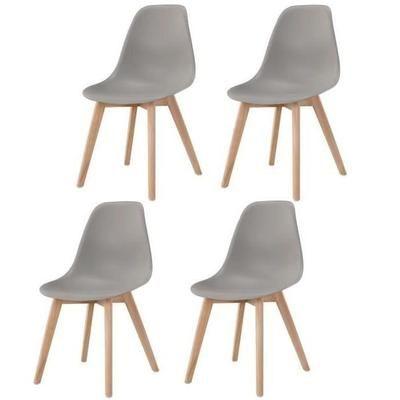SACHA Lot de 4 chaises de salle à manger gris - Pi Le Salon de mes
