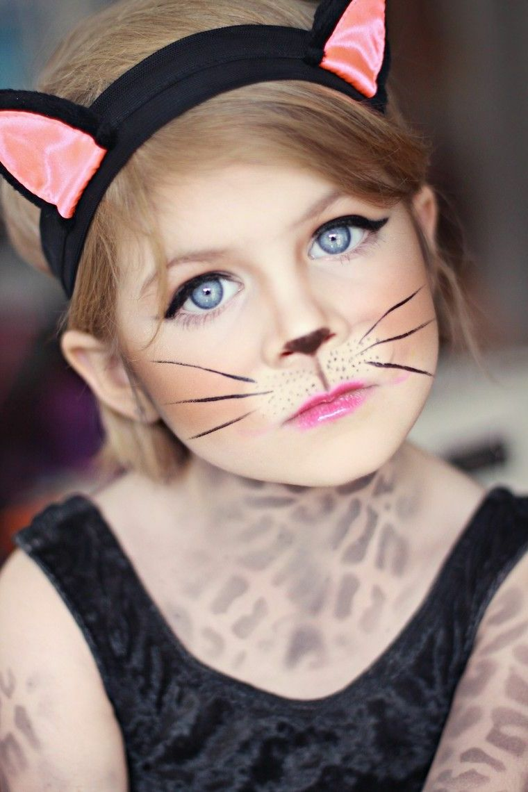 travestimento,halloween,bambina,gattino,rimmel,eye,liner,nero,body,painting