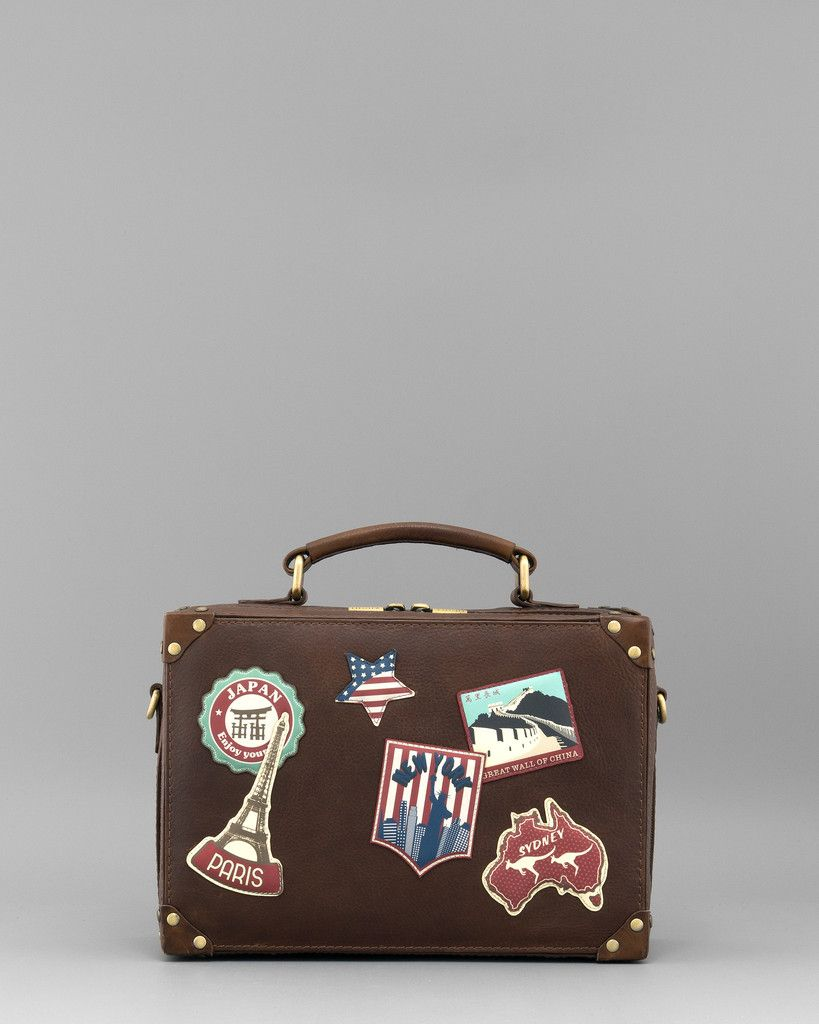 9233861e30 Happy Travels Applique Leather Grab Bag