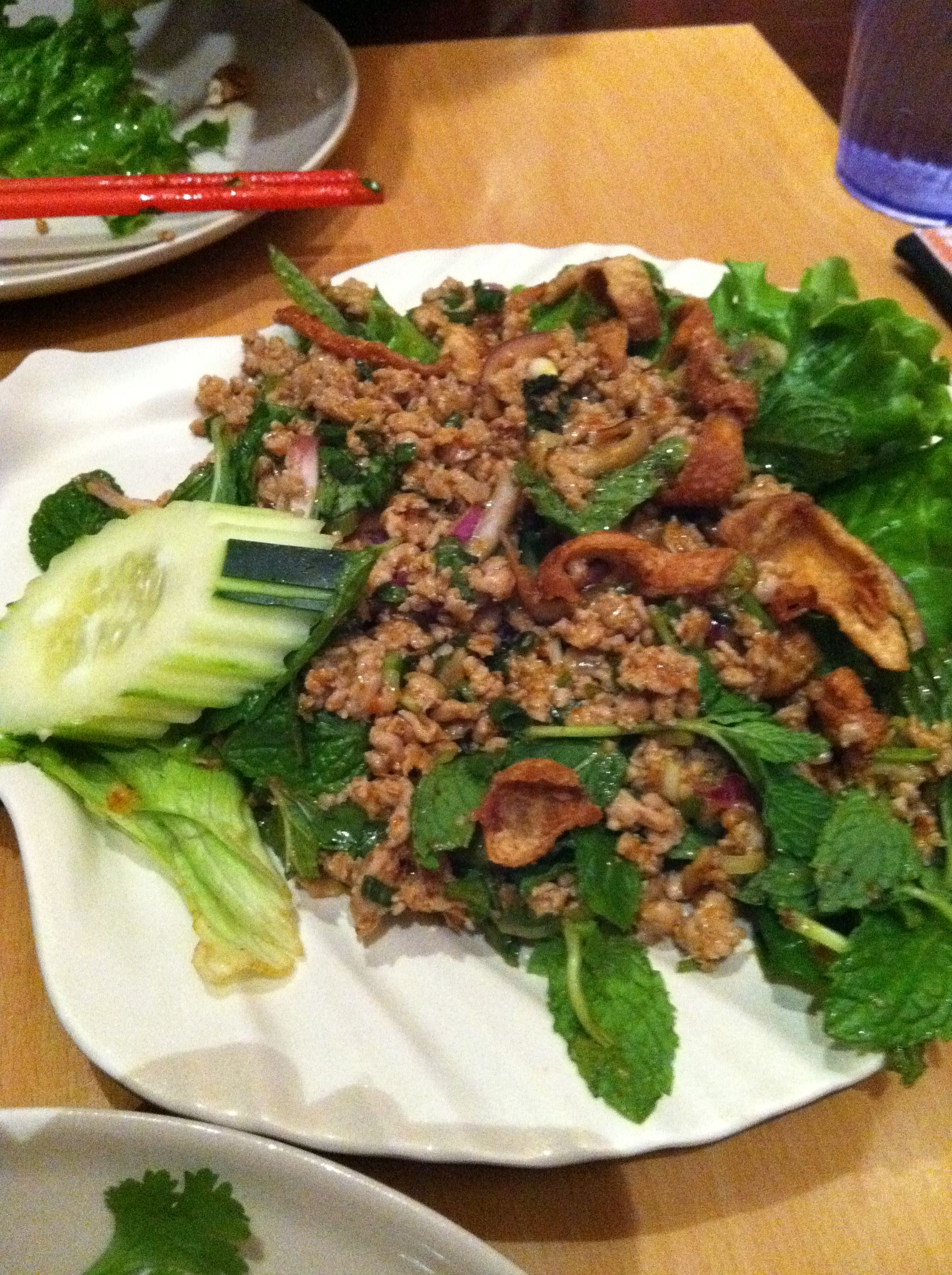 Laos style Larb from Champa Gardens in Oakland, CA. This place makes ...