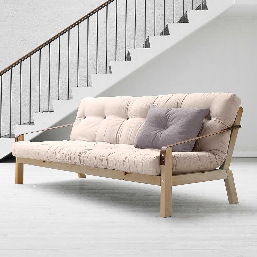 Schlafsofa Futon futon schlafsofa emirello in beige aus kiefer wohnen de