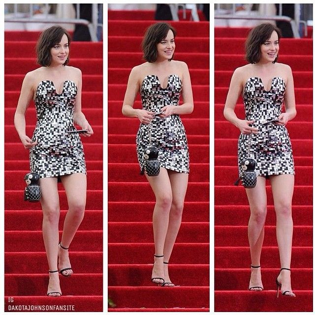 I love how #DakotaJohnson went against the norm at the #MetGala2015 and opted for a short #Chanel piece!  ________________________________________ Alsoooo I don't know why people bother leaving rude comments, they get deleted anyways. Online bullying of Dakota, her friends, or family is NOT allowed, so don't waste your time