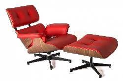 Replica Eames Lounge Chair Ottoman Red Premium Italian Leather
