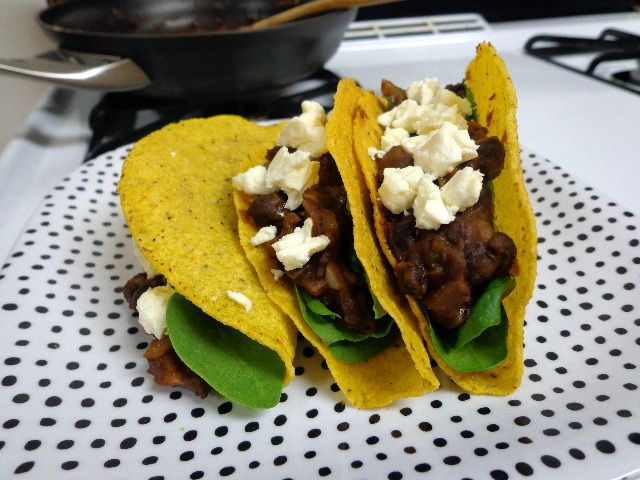 spicy black bean tacos with feta and spinach