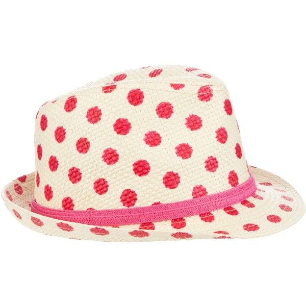 2073cf1d418d66 John Lewis Girl Spot Trilby Hat, Pink ❤ liked on Polyvore | Hats ...