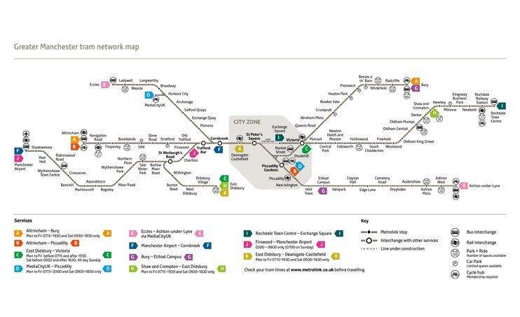 Manchester tram map Maps Pinterest Manchester tram map and City