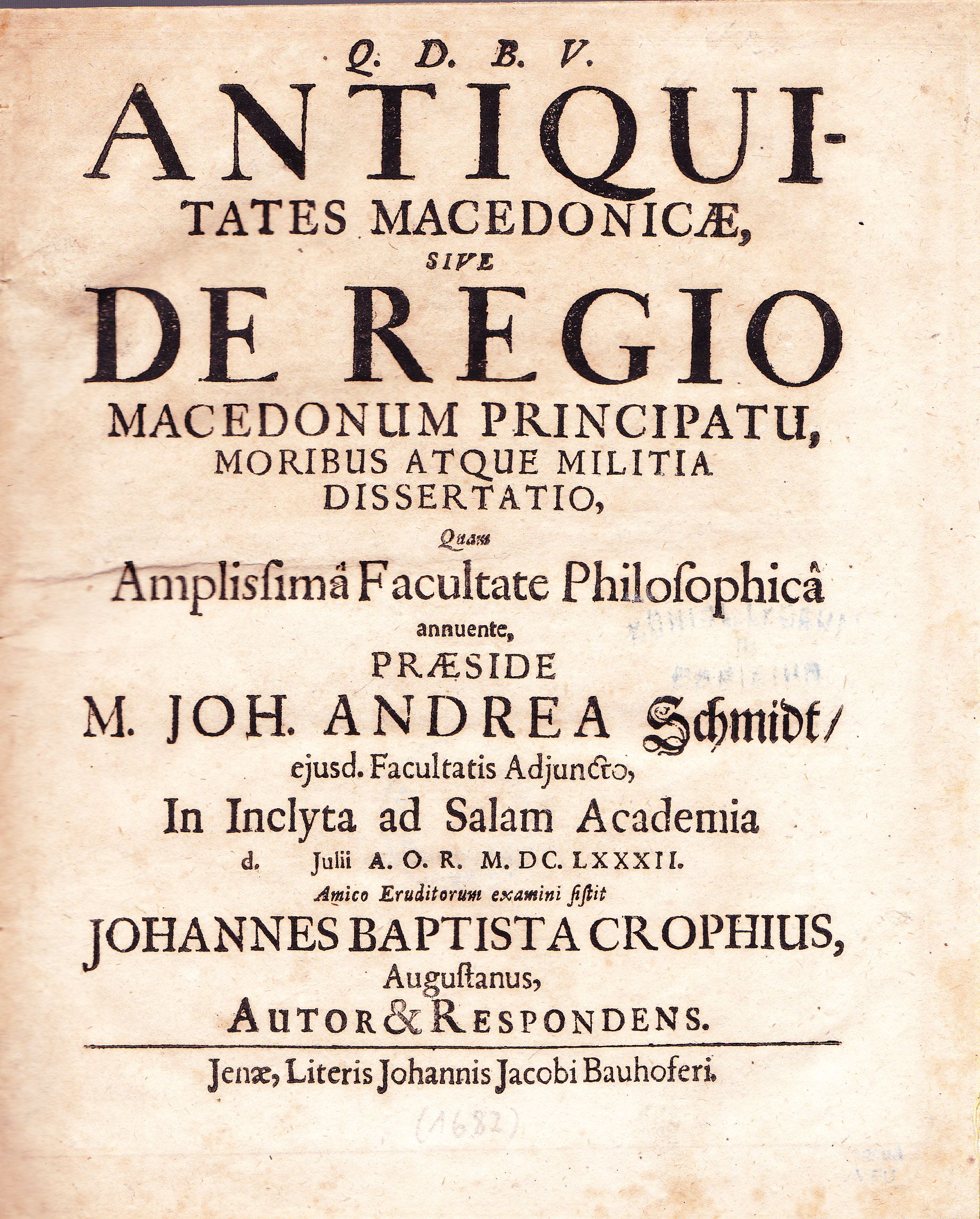 1682 Croph, Antiquitates Macedonicae