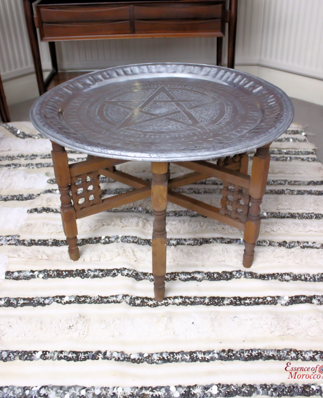 Moroccan Tea Tray Table In Gold Brass With Wooden Legs. The Tray Can Be  Used On The Base Or As | Tray Legs | Pinterest | Tea Tray, Wooden Leg And  Trays