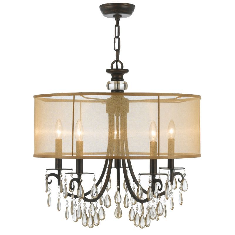 For The Crystorama Lighting Group Polished Chrome Hampton 5 Light Wide Brass Drum Chandelier With Smooth Oyster Crystal And Silk Shade Save