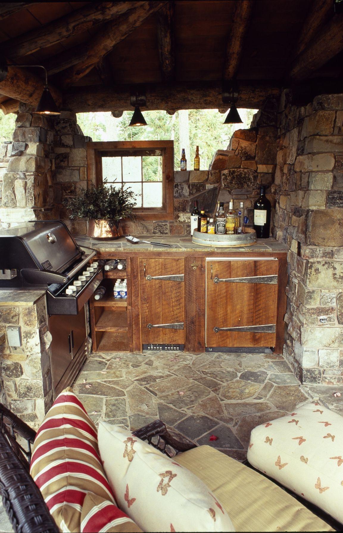 Rustic outdoor kitchen | Rustic outdoor kitchens, Bohemian ...