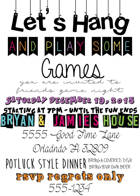 Game Night Birthday Invitation Game Night Party Family Game