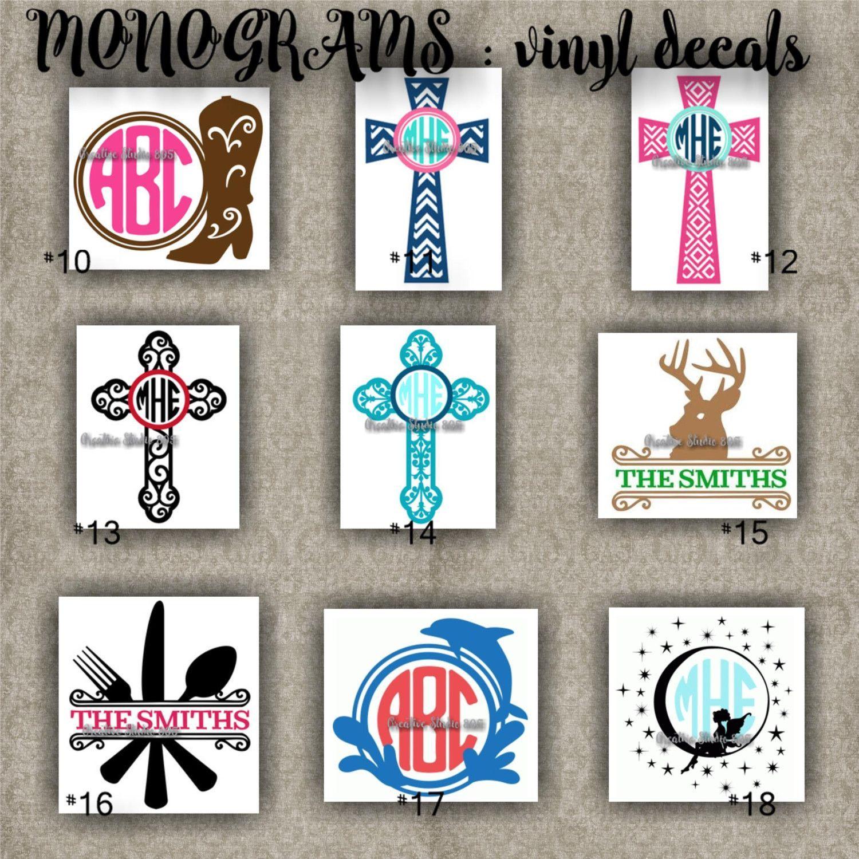 Monogram vinyl decals name initial decal sticker car decals car stickers laptop sticker 10 18