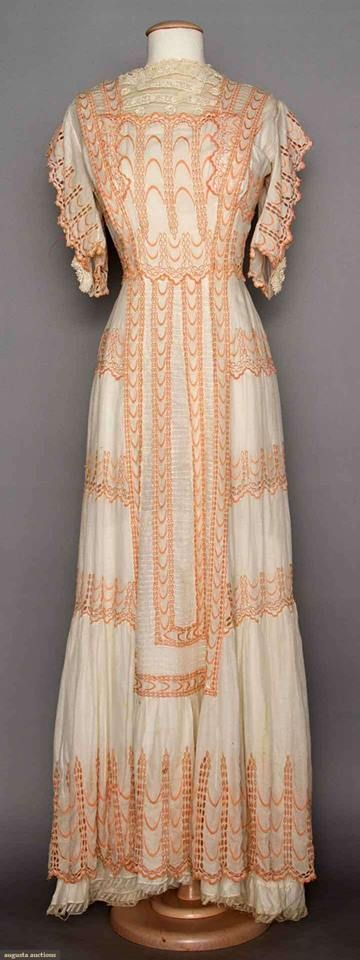 White Lace Tea Gown, C. 1910. Cotton with apricot embroidery & lace trim