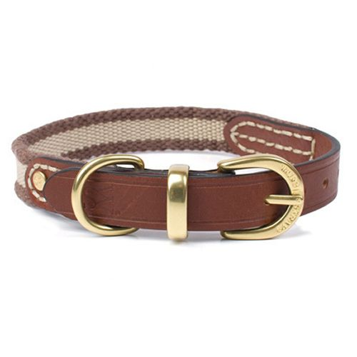 Waifs And Strays Leather And Webbing Dog Collar In Black Leather