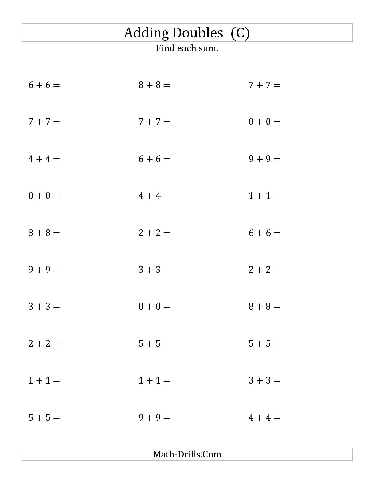 The Adding Doubles Small Numbers C Math Worksheet From
