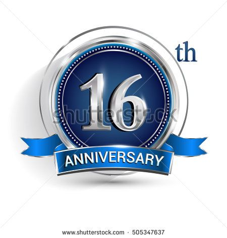 Celebrating 16th Anniversary Logo With Silver Ring And Blue Ribbon Isolated On White Background Anniversary Logo 29th Anniversary Anniversary