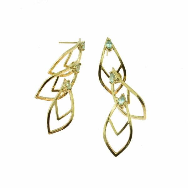 Cascade Earrings in 18k yellow gold with Montana sapphires | Gina Pankowski