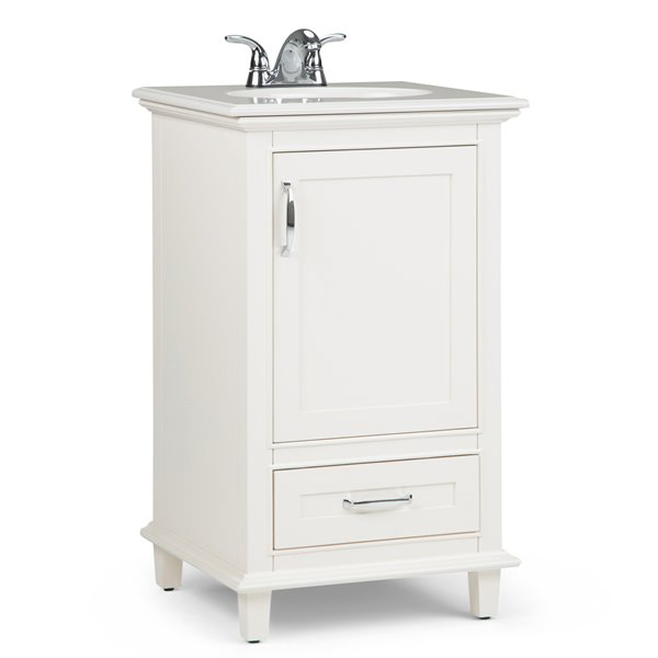 Simpli Home Ariana 20 In Off White With Sink Quartz Marble