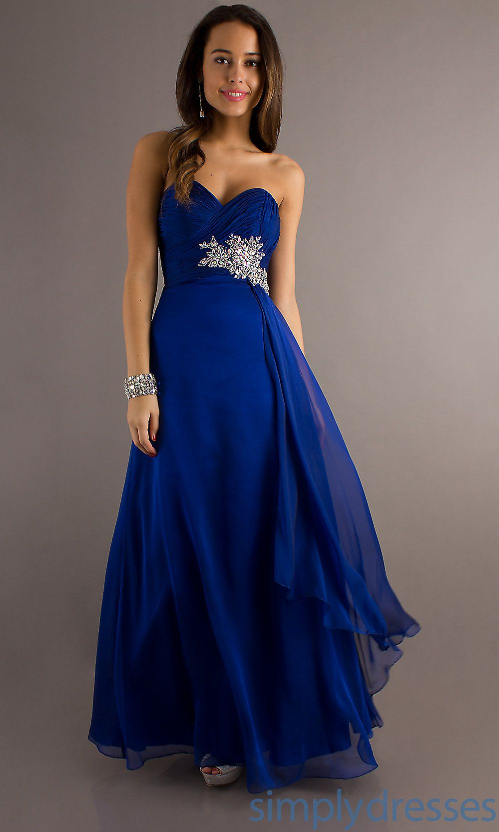 Dresses Formal Prom Evening Wear Temptation Floor Length Strapless Royal Blue