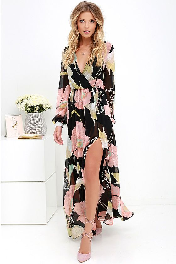 40057af06866f Take a moment to marvel at the sheer beauty of the Wondrous Water Lilies  Black Floral Print Maxi Dress! Floral print in shades of pink, seafoam, ...