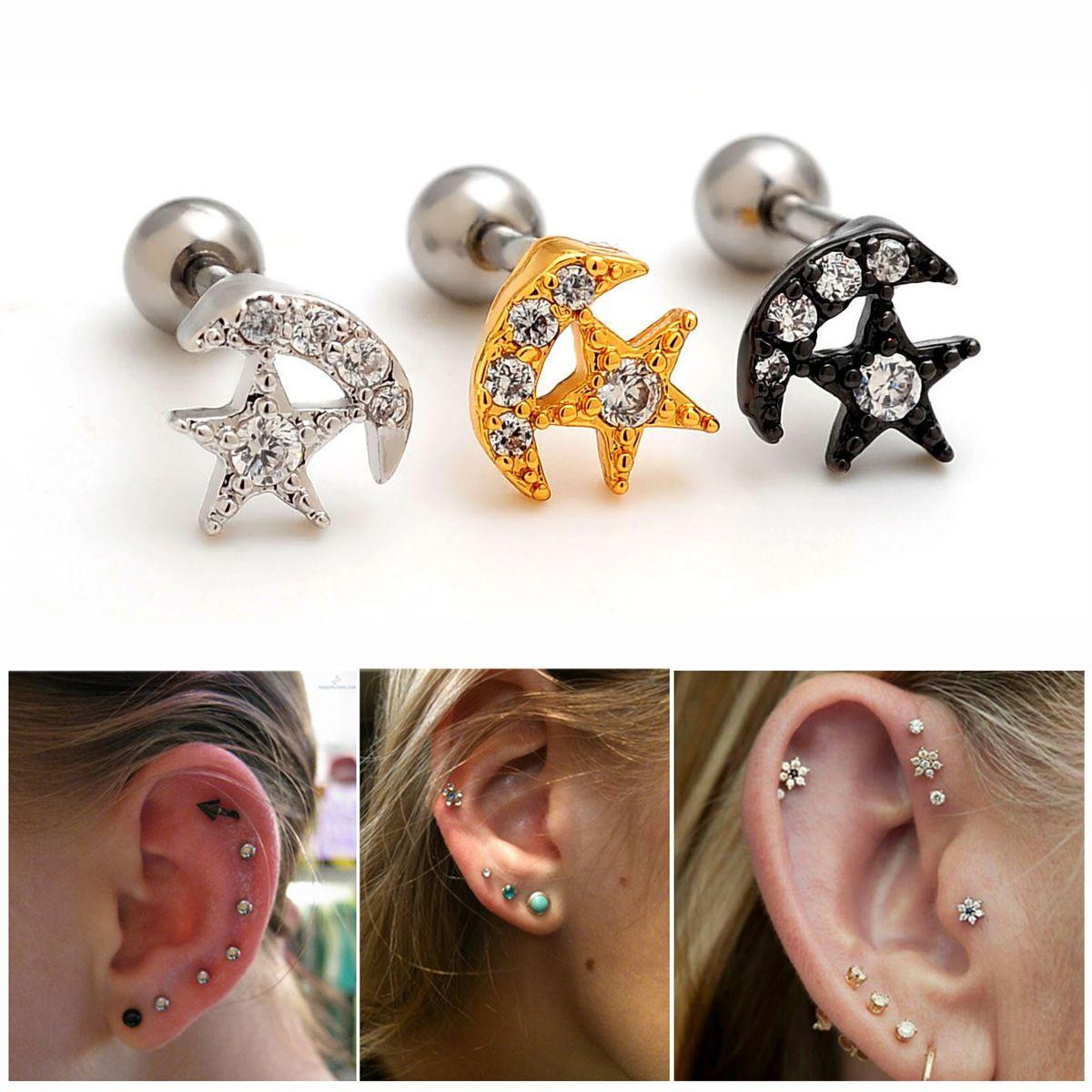 2pcs 16g Moon Star Ear Studs Cartilage Earrings Tragus Helix Piercing 16  Gauges