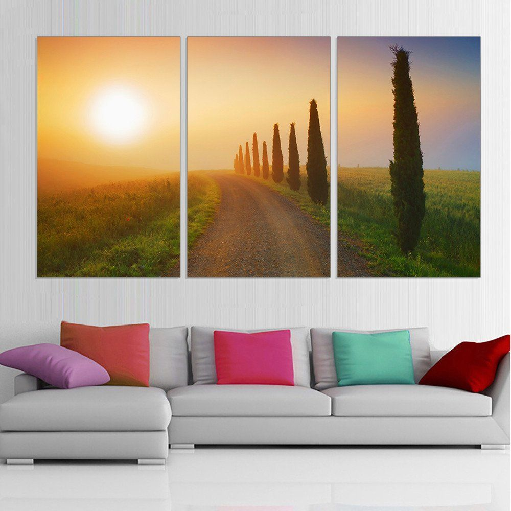 Modern Wall Paintings Living Room Modern Printed Canvas Painting Tree Oil Picture Sunset Landscape
