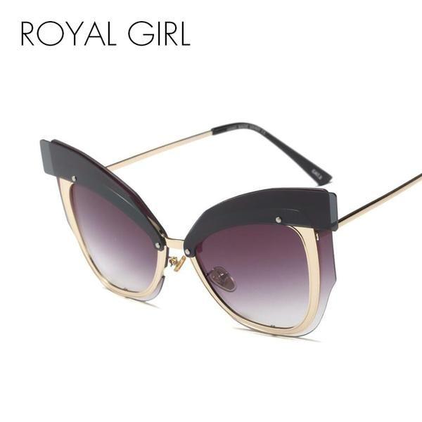 7581ffd4a1f  BestPrice  Fashion ROYAL GIRL Cat Eye Rimless Sunglasses Women Oversized  Pink Yellow Metal Frame