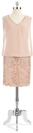 J Kara Embellished Blouson Dress