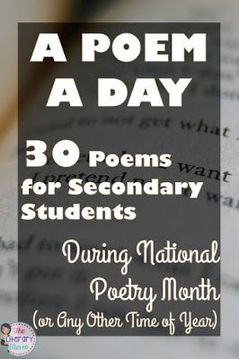A Poem A Day 30 Poems for Secondary Students During National Poetry Month (or Any Other Time of Year) is part of Teaching literature, Poetry middle school, Teaching high school, Teaching poetry, Middle school reading, Poetry lessons - Looking for new poetry for your middle school and high school students  These 30 poems, recommended and tested by secondary ELA teachers in their own classrooms, are sure to engage and inspire your students during National Poetry Month or any time of year